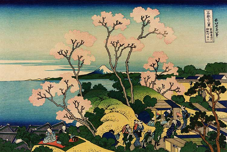 Shinagawa sur le Tôkaidô : oeuvre de l'artiste peintre Hokusai