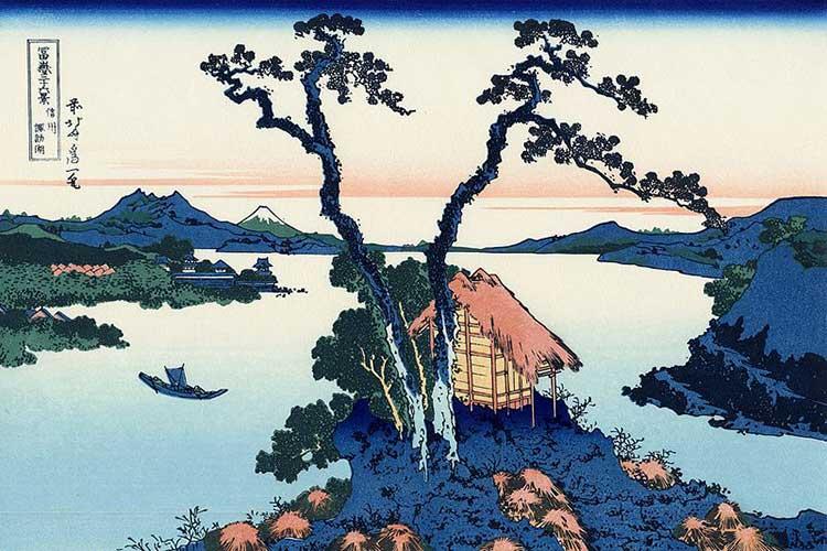 Le lac Suwa : oeuvre de l'artiste peintre Hokusai