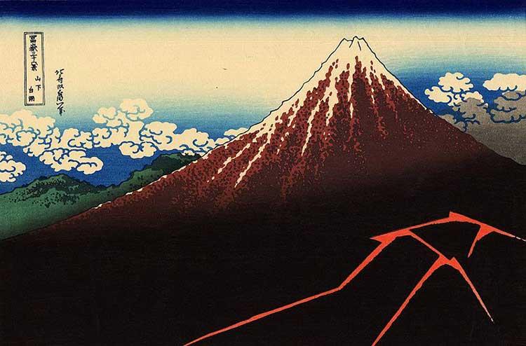 L'orage sous le sommet : oeuvre de l'artiste peintre Hokusai